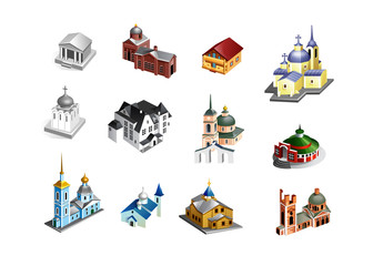 set of vector old country churches. Building icon in isometric © Mosaic
