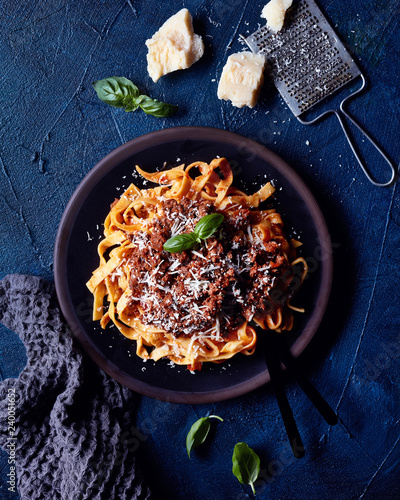Italian pasta Bolognese with parmesan cheese - 240051652