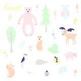 Cute animal and plant forest vector color characters set. Sketch fox, rabbit, hare, bear, fir tree, flowers, mushroom, great tit, hedgehog, squirrel, woodpecker, pig, elk, reindeer, owl in pastel blue
