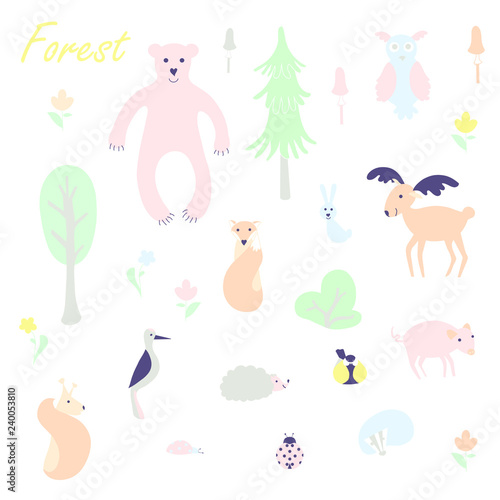 Cute animal and plant forest vector color characters set. Sketch fox, rabbit, hare, bear, fir tree, flowers, mushroom, great tit, hedgehog, squirrel, woodpecker, pig, elk, reindeer, owl in pastel blue