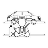 Car mechanic concept in black and white