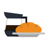 coffee kettle and bread on dish