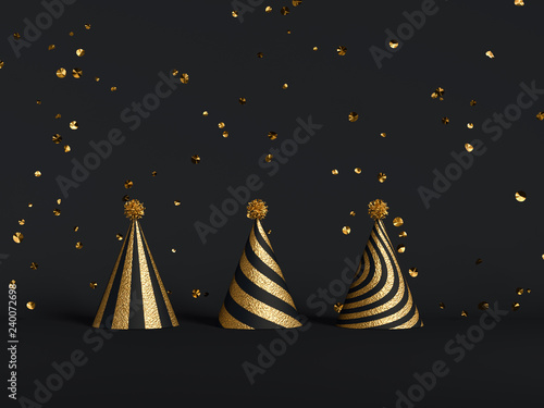 Golden Party hats and party accessories on black. New Year eve background. 3d rendering
