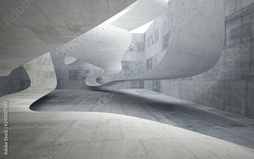 Empty dark abstract concrete smooth interior . Architectural background. 3D illustration and rendering - 240087068