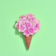 Leinwanddruck Bild - Bouquet of Flowers in Ice Cream Cone. Trendy fashion Style. Spring Summer Floral concept. Creative Minimal. Pink Blossom on green, Art