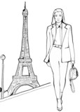 fashion model with eiffel tower in Paris © Deeworxdesigns