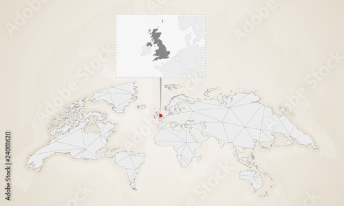 Map Of United Kingdom With Neighbor Countries Pinned On World Map