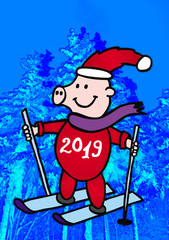 Joyful smiling pig on skis with the inscription 2019 on a background of a winter landscape in blue tones. The symbol of the new 2019.