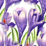 Bright Seamless pattern watercolor iris flowers and anemone. Illustration