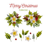 happy merry Christmas bouquet of flowers