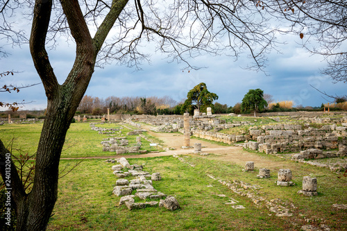 Paestum: The ancient ruins of remains of religious buildings of the ancient Greek domination. Italy