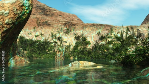 Oasis among the stone desert, the lake among the rocks, a beautiful mountain reservoir,  - 240134025