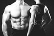Bodybuilder couple.