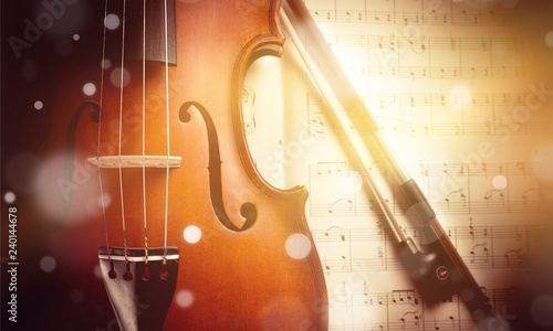 Photo Of Violin And Musical Notes - 240144678