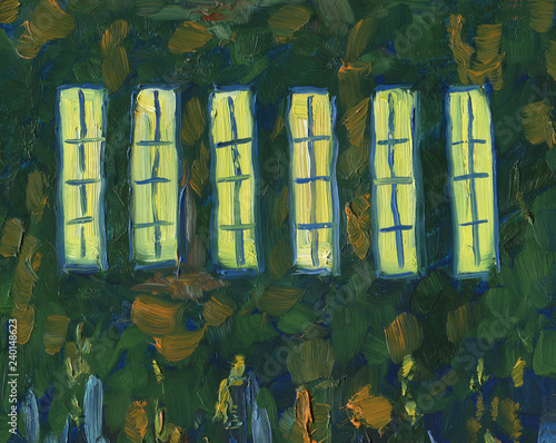 Light in the windows of the church. Night. Oil painting. Large brush strokes.