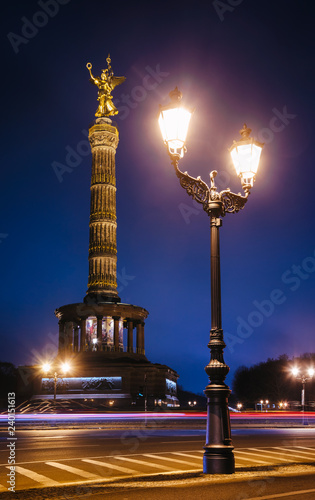 Berlin Victory Column (Siegessaule) monument at night Tiergarten Berlin Germany © Dmitry Naumov