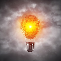 Concept of lightbulb as symbol of new idea. © adam121