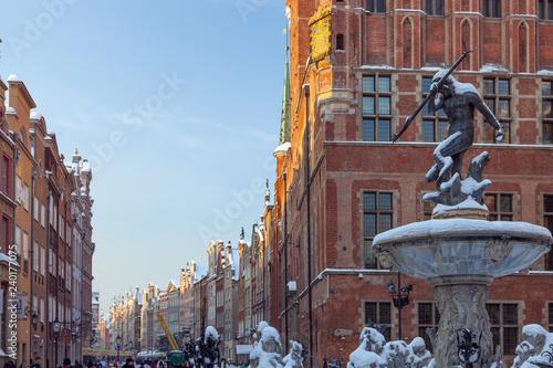 Pomorskie region, Poland - December, 2010: Neptun statue - fontain and Town Hall on Dlugi Targ street in Gdansk