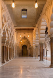 ZARAGOZA, SPAIN - MARCH 2, 2018: The hall of La Aljaferia palace - Stays of the North Tire, with triple access to the Golden Hall.