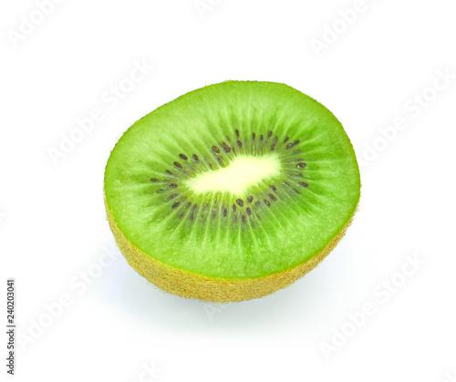 Half ripe kiwi fruit on white background