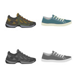 Vector design of shoe and footwear icon. Set of shoe and foot vector icon for stock.
