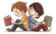 Leinwanddruck Bild - niños sentados leyendo libros