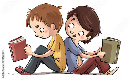 Leinwanddruck Bild niños sentados leyendo libros