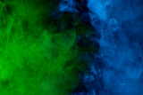 multicolored cloud blue-green cigarette vapor bright and mysterious abstraction background for design