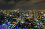 The evening and night lights of Bangkok when viewed from a corner on December 6, 2018.