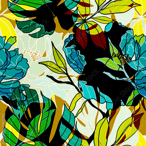 Beautiful seamless floral pattern background. - 240257813