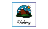 Hiking Hashtag with Mountains With Trees Clouds and Sun Vector Flat Illustration