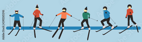 Hand drawn vector art of skiing people: man; woman; child. Winter sport games. Christmas illustration.