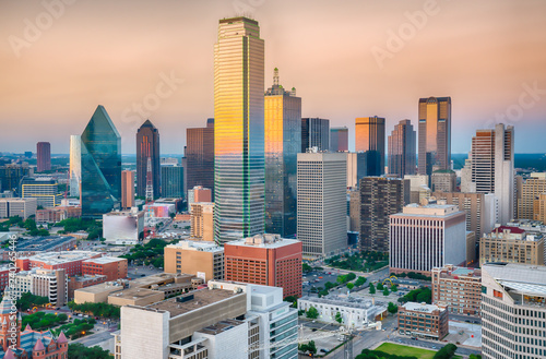 Dallas City Skyline Sunset