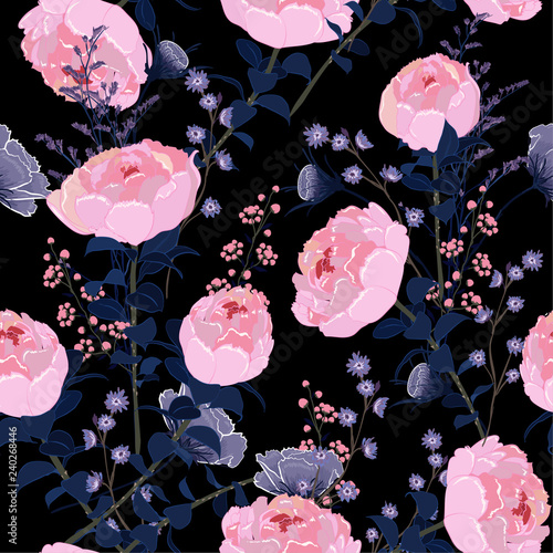 A dark summer night fresh softy  blooming pink peony flowers in the  garden seamless pattern vector for fashion fabric and all prints