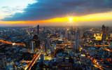 Cityscape top view Bangkok Thailand sunlight evening twilight  - 240271224