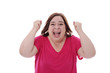 expression femme contente criant son enthousiasme