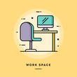 Work space, flat design thin line banner, usage for e-mail newsletters, web banners, headers, blog posts, print and more. Vector illustration.