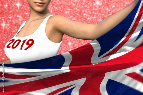 cute woman holds United Kingdom (UK) flag in front on the red shining sparks background - Christmas and 2019 New Year flag concept 3d illustration - 240276674