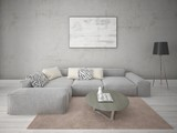 Mock up stylish lounge with gray corner sofa and trendy hipster backdrop.