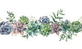 Watercolor succulents seamless bouquet. Hand painted green, violet, pink cacti, eucalyptus leaves and branches isolated on white background.  Botanical illustration for design, print. Green plants - 240278826