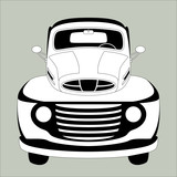 old vintage car ,vector illustration ,lining draw  ,front