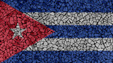 Mosaic Tiles Painting of Cuba Flag, Background Texture