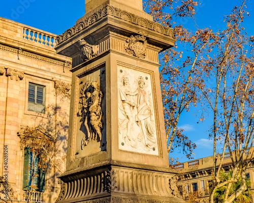 obraz lub plakat Sculpture Monument, Gothic District, Spain