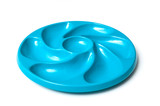 closeup of blue plastic plate for oysters on white background - 240292670