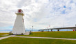 A derelict lighthouse now retired to a park beside the PEI to New Brunswick, Inter provincial bridge in Canada.
