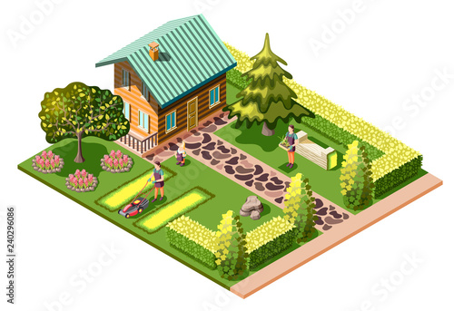 Landscaping Isometric Composition