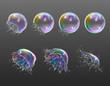 Realistic Soap Bubbles Explosion Transparent