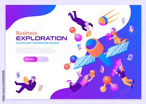 Business Exploration Isometric Poster - 240299648