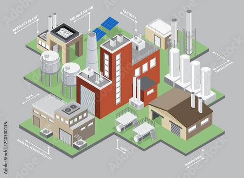 Industrial Buildings Isometric Infographic Set - 240300436
