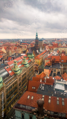 Wroclaw cityscape landmark view from the cathedral on a cloudy day